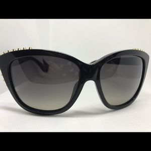 Alexander McQueen Gold Spiked Black Sunglasses